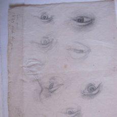Arte: DIBUJO A LAPIZ. ESTUDIO DE OJOS. PARIS ABRIL 1883. 21 X 16 CM. Lote 173858624