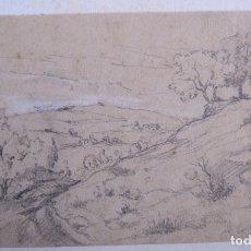 Arte: PAISAJE. DIBUJO A LÁPIZ Y TIZA BLANCA. 13,5 X 23 CM. SIGLO XIX. Lote 173858823