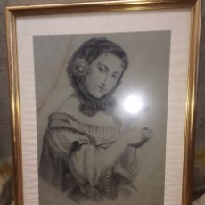 Arte: ANTIGUO CUADRO EN CARBON(1900)FIRMADO!. Lote 173976120