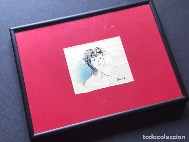 DIBUJO A TINTA, RETRATO, FIRMADO PRUNA (Arte - Dibujos - Contemporáneos siglo XX)
