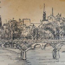 Arte: ARTURO BALLESTER MARCO (VALENCIA, 1892 – 1981) NOTREDAME PARIS 1958 PLUMILLA SOBRE PAPEL 25 X 30. Lote 174202670