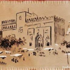 Arte: JUAN BELDA Y MORALES (1872-1944) LA LONJA DE VALENCIA ,PLUMILLA Y GOUACHE SOBRE POSTAL 1890. 9 X 14. Lote 174208907