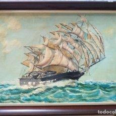 Arte: MARINA CON BARCO VELERO, FIRMADO POR S.FLORES. Lote 174227208