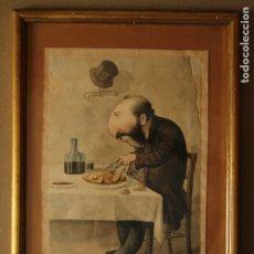 Arte: JOSEP PARERA Y ROMERO - CARICATURA ORIGINAL EN COLOR SIGLO XIX - FIRMADA. Lote 174264187