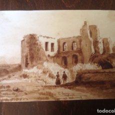 Arte: ESCUELA ESPAÑOLA SIGLO XIX. CASAS EN RUINAS.. Lote 174275433