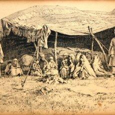 Arte: WALTON CORBOULD (1859-1919) DIBUJO TINTA.COLONIA INGLESA. Lote 174382132