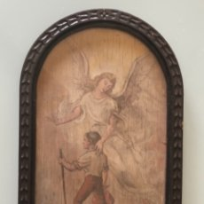 "Arte: DIBUJO ACUARELA SOBRE TABLA "" APARICION ÀNGEL GABRIEL"" FIRMA CATALÀ GOMIS 17X37 CM, 1958. Lote 174387638"