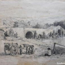Arte: DIBUJO CAMPESINOS ( ESCUELA INGLESA ) FIRMADO .. Lote 174441344