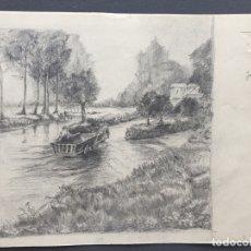 Arte: DIBUJO ORIGINAL A LÁPIZ SOBRE PAPEL , FIRMADO Y FECHADO EN 1935 , POSIBLEMENTE HOLANDA. Lote 174569843