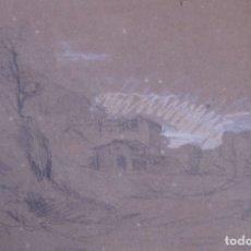 Arte: PAISAJE. DIBUJO A LÁPIZ Y TIZA BLANCA. 15,5 X 24 CM. SIGLO XIX. Lote 174965782