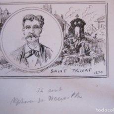 Arte: RETRATO DE ALPHONSE DE NEUVILLE , SAINT PRIVAT 1870, DIBUJO ORIGINAL A TINTA. PAPEL 14 X 19 CM. Lote 174966347
