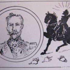 Arte: RETRATO DEL GENERAL GEORGES ERNEST JEAN MARIE BOULANGER. DIBUJO ORIGINAL A TINTA- 14 X 19 CM. Lote 174974424
