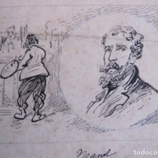 Arte: RETRATO DEL PINTOR MANET. DIBUJO ORIGINAL A TINTA. SIGLO XIX. 12 X 19 CM. Lote 174974992