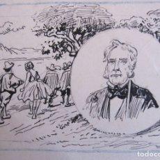 Arte: RETRATO DEL COMPOSITOR AUBER. DIBUJO ORIGINAL A TINTA. SIGLO XIX.13 X 16 CM. Lote 174975467