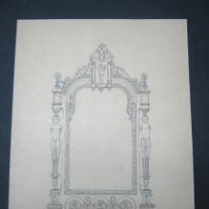 Arte: DIBUJO ACADEMICO ORIGINAL A PLUMILLA - VºBº PEDRO MONJO 1898 - DISEÑO DE PUERTA MUEBLE. Lote 175067097