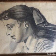 Arte: DIBUJO A CARBONCILLO. FIRMADO HERNANDEZ P ,ENMARCADO Y CRISTAL -(19269). Lote 175292127