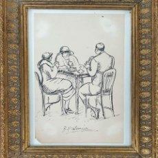 Arte: TOMANDO CAFÉ. DIBUJO A TINTA SOBRE PAPEL. BENJAMÍN PALENCIA. CIRCA 1920. . Lote 175571870