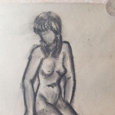 Arte: ARTE. ESCUELA CATALANA DIBUJO CARBÓN CARBONCILLO DIBUJO DESNUDO FEMENINO CON FIRMA MAS. Lote 175641374