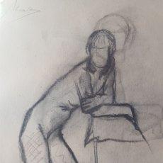 Arte: ARTE. ESCUELA CATALANA DIBUJO CARBÓN CARBONCILLO DIBUJO DESNUDO FEMENINO CON FIRMA MAS. Lote 175641404