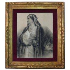 Arte: KYRA VASSILIKI PORTRAIT ALI PASHA ORIENTALISTE CHARCOAL XIX PASTEL RETRATO ORIENTALISTA CARBON MUJER. Lote 175823833