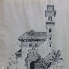 Arte: GRANADA IGLESIA DE SANTA ANA DIBUJO A PLUMILLA 1922POR ANTONIO AMOR. Lote 175978200