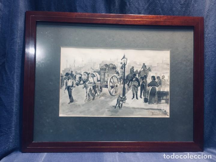 TINTA S XIX PUERTO MALAGA CARRUAJE MERCANCIAS BARCOS VAPOR FIRMA MANUEL ALVAREZ DE TOLEDO MILITAR 41 (Arte - Dibujos - Contemporáneos siglo XX)