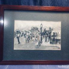 Arte: TINTA S XIX PUERTO MALAGA CARRUAJE MERCANCIAS BARCOS VAPOR FIRMA MANUEL ALVAREZ DE TOLEDO MILITAR 41. Lote 175992604