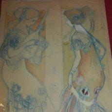 Arte: (M) JOSEP PEY I FERRIOL (1875-1956) DIBUJO PAREJA DE MUJERES MODERNISTA. Lote 176103820