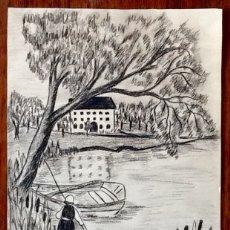 Arte: DIBUJO CARBONCILLO. 1962. FIRMADO.ENVIO CERTIFICADO INCLUIDO.. Lote 176271095