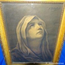Arte: DIBUJO DE LA VIRGEN DOLOROSA FIRMADO A. GELABERT Y B.1913. Lote 176451774