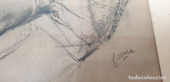 Arte: RETRATO DE MUJER. DIBUJO AL CARBÓN. FRANCESC SERRA. SIGLO XX. - Foto 2 - 176619273