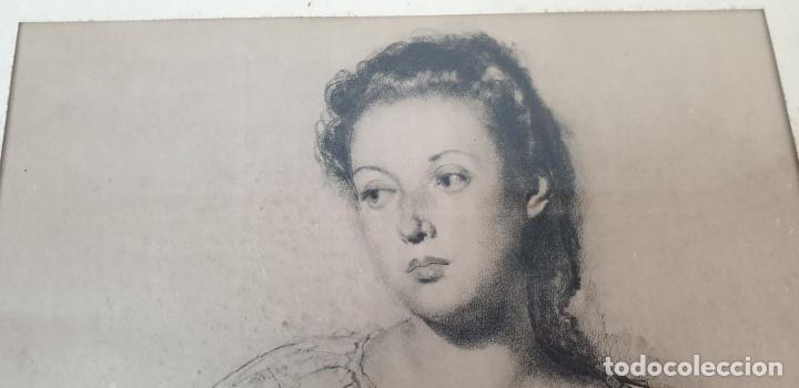 Arte: RETRATO DE MUJER. DIBUJO AL CARBÓN. FRANCESC SERRA. SIGLO XX. - Foto 3 - 176619273