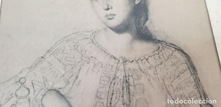 Arte: RETRATO DE MUJER. DIBUJO AL CARBÓN. FRANCESC SERRA. SIGLO XX. - Foto 4 - 176619273