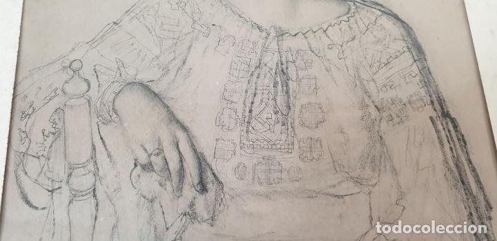 Arte: RETRATO DE MUJER. DIBUJO AL CARBÓN. FRANCESC SERRA. SIGLO XX. - Foto 5 - 176619273