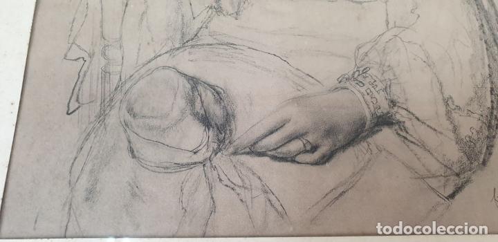 Arte: RETRATO DE MUJER. DIBUJO AL CARBÓN. FRANCESC SERRA. SIGLO XX. - Foto 8 - 176619273