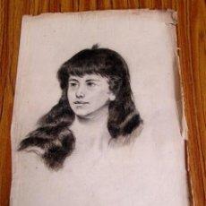 Arte: DIBUJO DE ROSTRO FEMENINO - A CARBONCILLO. Lote 176679179