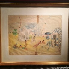 Arte: ESCENA DE PLAYA POR RICARD OPISSO (1880-1966). Lote 227479975