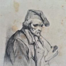 Arte: ANTIGUO DIBUJO SIGLO XIX,MARINERO CATALAN FUMANDO EN PIPA,SEGUIDOR DE RAMON MARTI ALSINA,FIRMADO. Lote 176768379
