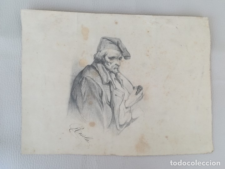 Arte: ANTIGUO DIBUJO SIGLO XIX,MARINERO CATALAN FUMANDO EN PIPA,SEGUIDOR DE RAMON MARTI ALSINA,FIRMADO - Foto 2 - 176768379