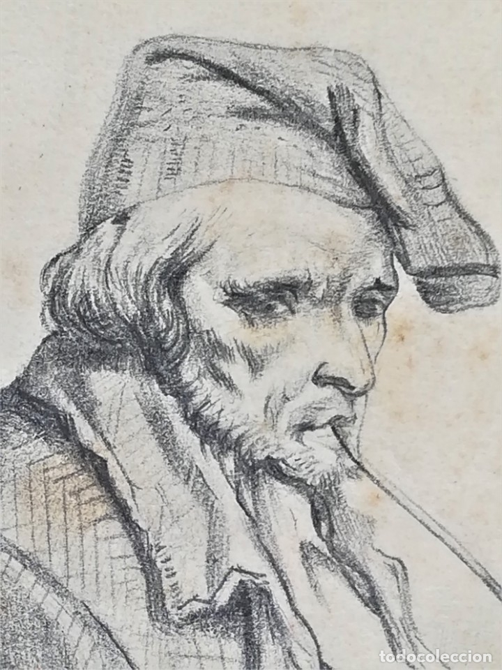Arte: ANTIGUO DIBUJO SIGLO XIX,MARINERO CATALAN FUMANDO EN PIPA,SEGUIDOR DE RAMON MARTI ALSINA,FIRMADO - Foto 3 - 176768379