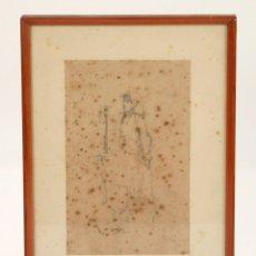 Arte: RAMON MARTÍ ALSINA (1826 - 1894), MUJER CON PAÑUELO, DIBUJO SOBRE PAPEL, FIRMADO, CON MARCO. 21X13CM. Lote 176818248