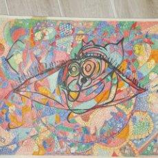Arte: DIBUJO A ROTULADOR, ROCK GALÁCTICO, AÑOS 60, MEDIDAS 60X46CM. Lote 177072252
