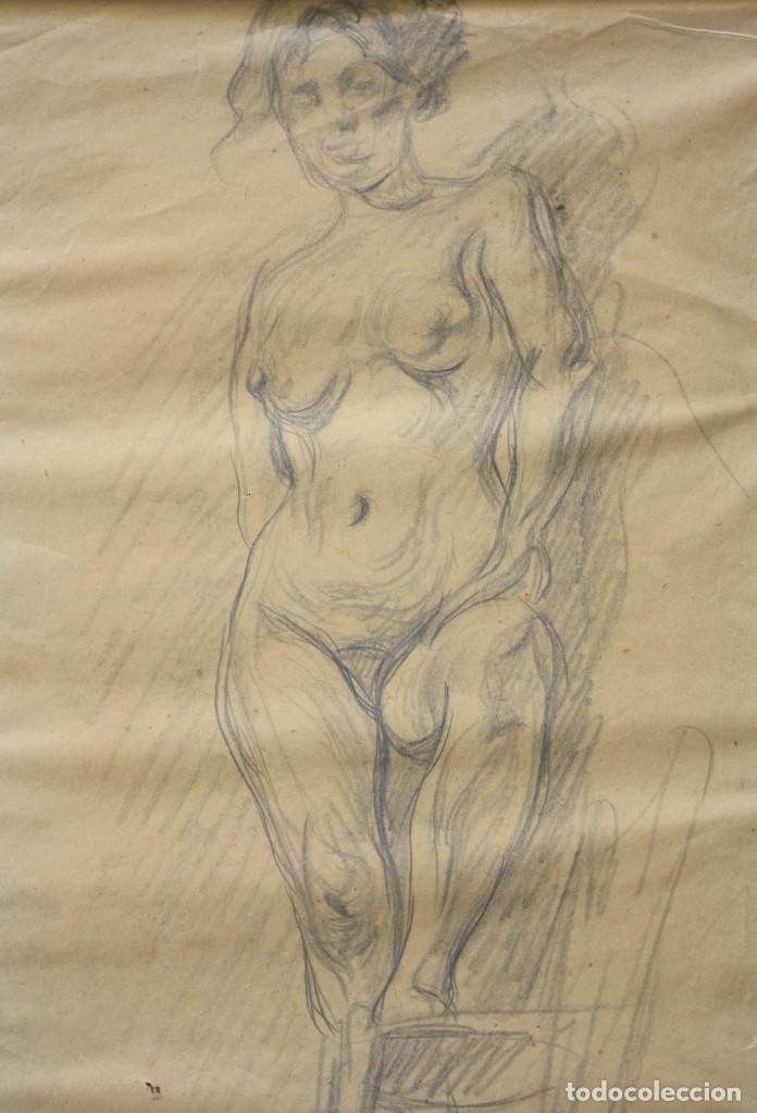 Arte: Francesc Gimeno (1858 - 1927), dibujo, desnudo femenino, firmado. 45,5x32,5cm - Foto 2 - 177373514