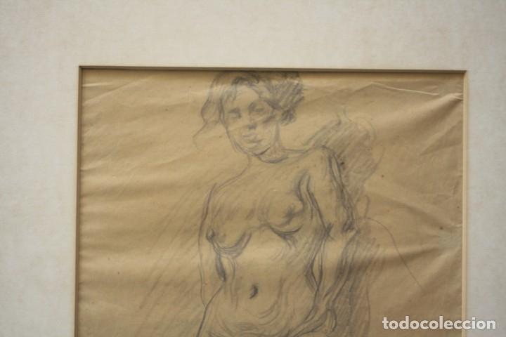 Arte: Francesc Gimeno (1858 - 1927), dibujo, desnudo femenino, firmado. 45,5x32,5cm - Foto 3 - 177373514