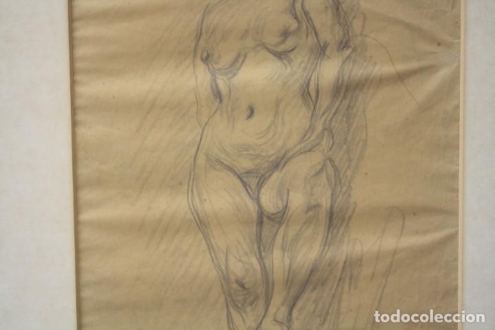 Arte: Francesc Gimeno (1858 - 1927), dibujo, desnudo femenino, firmado. 45,5x32,5cm - Foto 4 - 177373514