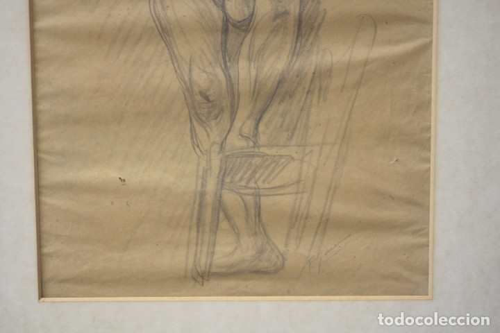 Arte: Francesc Gimeno (1858 - 1927), dibujo, desnudo femenino, firmado. 45,5x32,5cm - Foto 5 - 177373514