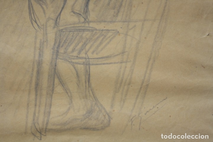 Arte: Francesc Gimeno (1858 - 1927), dibujo, desnudo femenino, firmado. 45,5x32,5cm - Foto 6 - 177373514