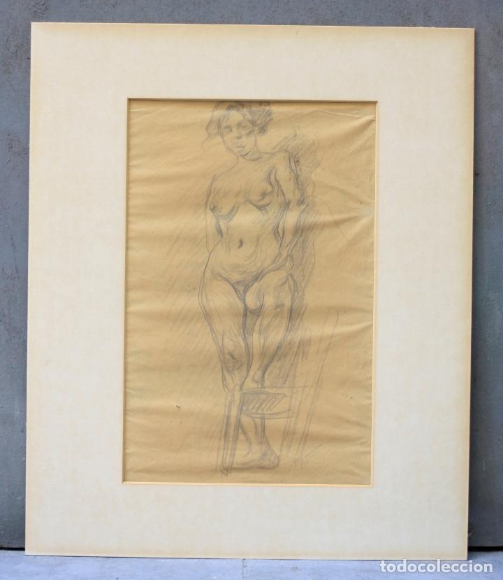 FRANCESC GIMENO (1858 - 1927), DIBUJO, DESNUDO FEMENINO, FIRMADO. 45,5X32,5CM (Arte - Dibujos - Contemporáneos siglo XX)