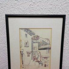 Arte: DIBUJO TÉCNICA MIXTA FIRMADO. ENMARCADO CON PASPARTÚ.. Lote 177393744