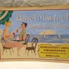 Arte: HOTEL MARICEL MALLORCA PUBLICIDAD DIBUJO TINTA COLOREADA DE LLUIS FLOTATS AÑOS 40. Lote 177569120